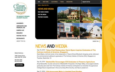 Screenshot of Press Page ciachef.edu - The Culinary Institute of America :: News and Media - captured Sept. 22, 2014