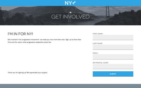 Screenshot of Landing Page nydems.org - Get Involved | New York State Democratic Committee - captured Oct. 30, 2016