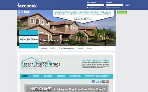 Screenshot of Home Page betterchoicehomes.com - Better Choice Homes - Gilbert, Arizona - Real Estate - Click for Website | Facebook - captured Oct. 5, 2014