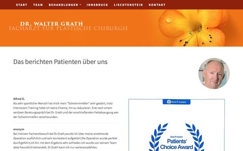Screenshot of Testimonials Page drgrath.com - Testimonials - captured June 5, 2018