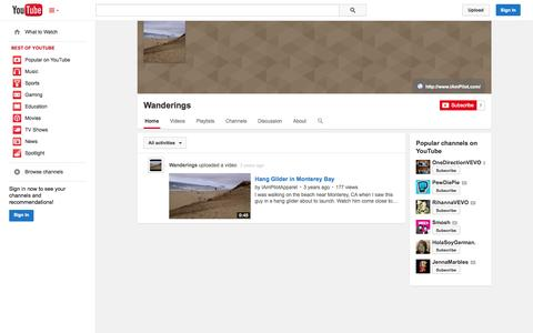 Screenshot of YouTube Page youtube.com - Wanderings  - YouTube - captured Oct. 23, 2014