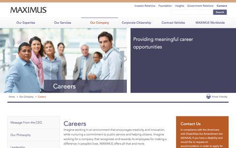 Screenshot of Jobs Page maximus.com - Careers | Job Opportunities | Recruiting - MAXIMUS | MAXIMUS - captured Jan. 15, 2018