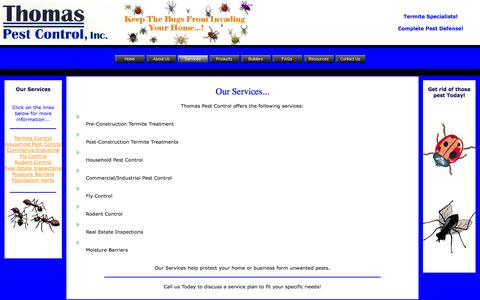 Screenshot of Services Page thomaspestcontrol.com - Services - captured Sept. 30, 2014