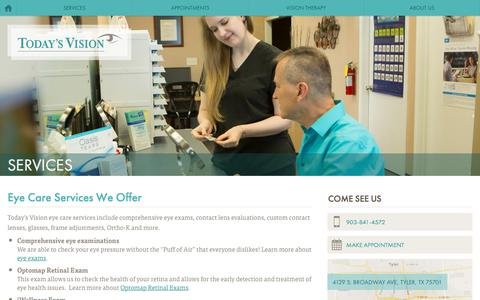 Screenshot of Services Page tylereyecare.com - Eye Care Services - Today's Vision, Tyler, TX - captured Feb. 1, 2018