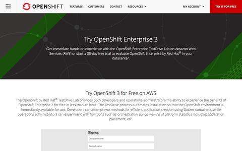 Screenshot of Trial Page openshift.com - Try OpenShift Enterprise for Free - captured Jan. 13, 2016