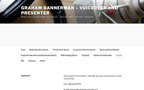 Screenshot of Contact Page grahambannerman.com - English Voice Over with studio-Graham Bannerman - Contact | Graham Bannerman - Voiceover and Presenter - captured Oct. 22, 2017