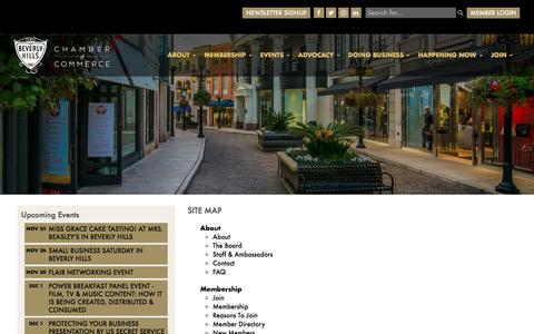 Screenshot of Site Map Page beverlyhillschamber.com - Site Map - Beverly Hills - captured Nov. 22, 2016