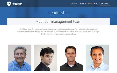 Screenshot of About Page Team Page reflektion.com - Leadership | Reflektion - captured Dec. 5, 2015