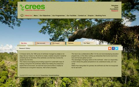 Screenshot of About Page crees-manu.org - Our Aim - crees - captured Oct. 1, 2014