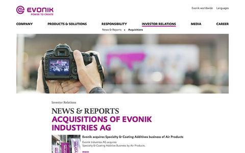 Acquisitions - Evonik Industries AG