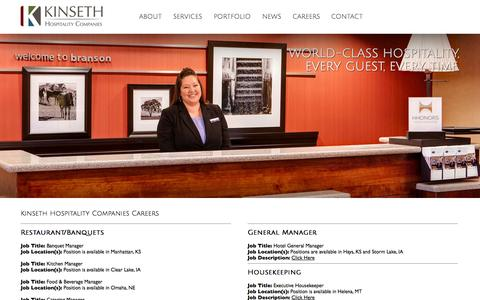 Screenshot of Jobs Page kinseth.com - Kinseth Hospitality Companies Careers - captured Oct. 6, 2014