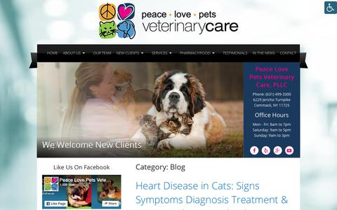 Screenshot of Blog peacelovepets.org - Blog | Peace Love Pets Veterinary Care - captured Sept. 27, 2018