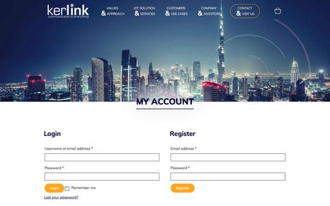 Screenshot of Login Page kerlink.com - My account - Kerlink - captured Oct. 16, 2017