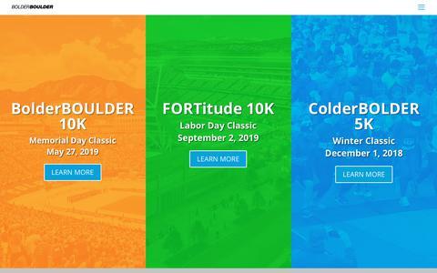 Screenshot of Home Page bolderboulder.com - BolderBOULDER | BolderBOULDER running 10k 5k - captured Oct. 6, 2018