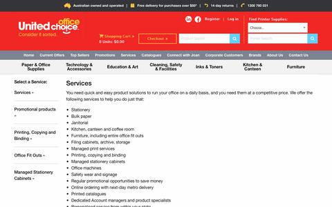 Screenshot of Services Page unitedoc.com.au - Office services and products | stationery | printing | cleaning | United Office Choice - captured Oct. 22, 2017