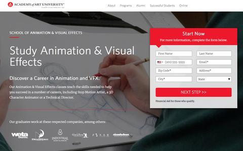 Screenshot of Landing Page academyart.edu - School of Animation & Visual Effects - captured April 1, 2018