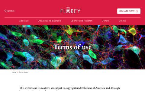Screenshot of Terms Page florey.edu.au - Terms of use - Florey - captured June 5, 2018