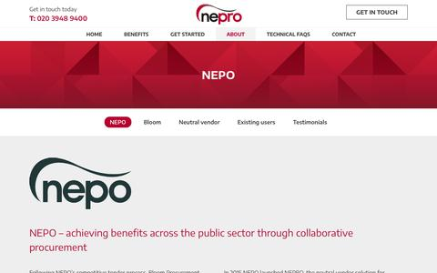 Screenshot of About Page nepro.org.uk - NEPO Professional Procurement Solutions   Nepro - captured Oct. 19, 2018