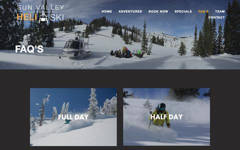 Screenshot of FAQ Page sunvalleyheliski.com - FAQ's — Sun Valley Heli Ski - captured Oct. 20, 2018