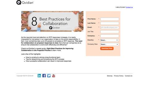 Screenshot of Landing Page qvidian.com - Eight Best Practices for Improving Collaboration in the Proposal Process | Qvidian - captured Dec. 14, 2016