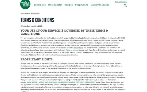 Terms & Conditions | Whole Foods Market