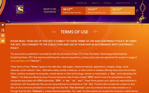 Screenshot of Terms Page setindia.com - Sony Entertainment Television (India) | SET India - captured Oct. 19, 2018