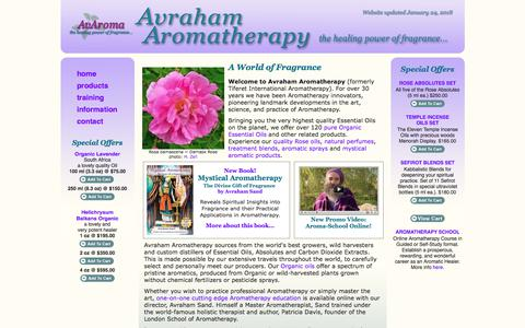 Screenshot of Home Page avaroma.com - Avraham Aromatherapy - the healing power of fragrance... - captured June 30, 2018