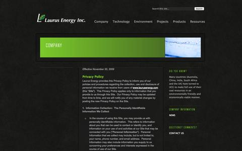 Screenshot of Privacy Page laurusenergy.com - Privacy Policy «  Laurus Energy - captured Sept. 16, 2014