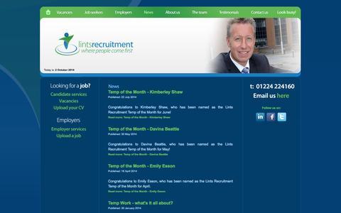 Screenshot of Press Page lintsrecruitment.com - News - Lints Recruitment Ltd - Aberdeen Recruitment Agency - captured Oct. 2, 2014