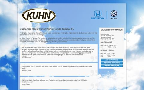 Screenshot of Testimonials Page kuhnhondavw.com - Tampa, FL Honda VW & Used Car Dealer | Kuhn Honda VW - captured Oct. 6, 2014
