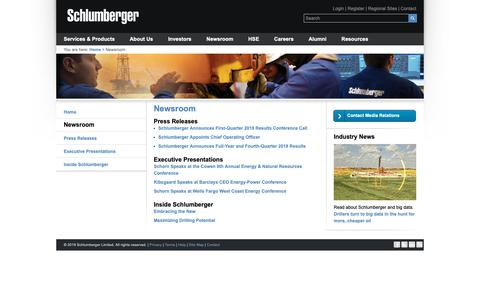 Screenshot of Press Page slb.com - Newsroom | Schlumberger - captured Feb. 15, 2019