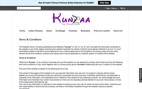 Screenshot of Terms Page kunzaa.com - Terms & Conditions | www.kunzaa.com - captured Sept. 26, 2014