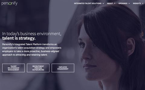 Screenshot of Home Page personifysearch.com - Personify - Talent Relationship Management, RPO, Employee Engagement - captured April 17, 2018