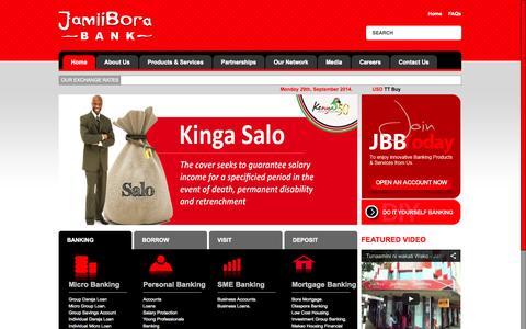 Screenshot of Home Page jamiiborabank.co.ke - Jamii Bora Bank | Jamii Bora, Tunaamini ni Wakati Wako - captured Sept. 30, 2014