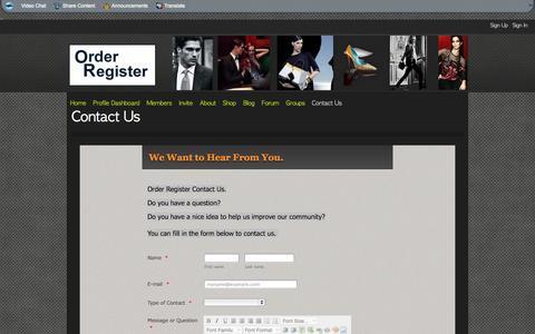 Screenshot of Contact Page orderregister.com - Contact Us - Order Register - captured Oct. 26, 2014