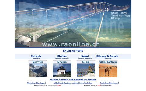 Screenshot of Home Page raonline.ch - RAOnline - Nepal, Bhutan and Switzerland - Tourism, Climate, Education, Religion, Culture, People - Schweiz - Bildung, Tourismus, Kultur, Klima, Motorradtouren - captured Oct. 25, 2018