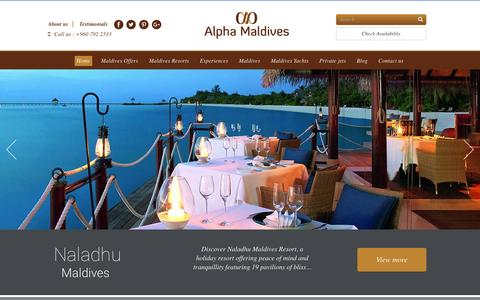 Screenshot of Home Page alphamaldives.com - Alpha Maldives - the Experts in Maldives Honeymoon & Luxury Holiday Packages - captured Oct. 24, 2016