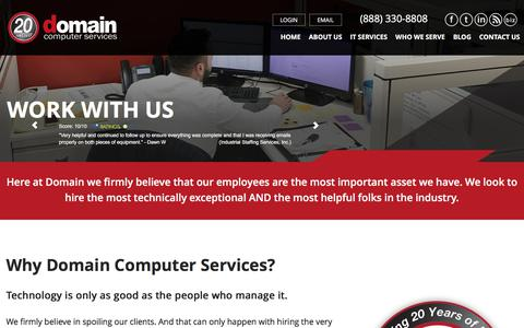 Screenshot of Jobs Page go-domain.com - Work With Us - captured July 8, 2018