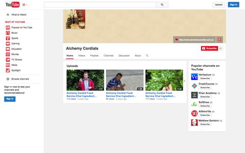 Screenshot of YouTube Page youtube.com - Alchemy Cordials  - YouTube - captured Oct. 23, 2014