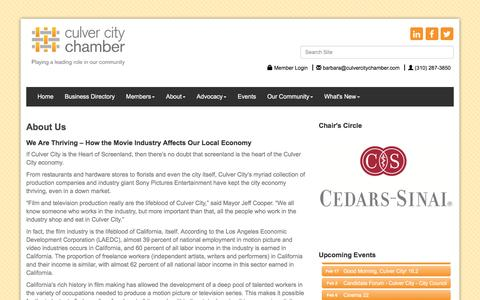 Screenshot of About Page culvercitychamber.com - About Us - Culver City Chamber of Commerce, CA - captured Feb. 2, 2016