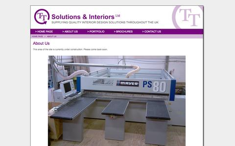Screenshot of About Page tt-solutions-and-interiors.co.uk - TT Solutions & Interiors Ltd - Interior Design Solutions for Retail and Business Spaces, based in Swindon, Wiltshire (UK) | About Us - captured Oct. 7, 2014