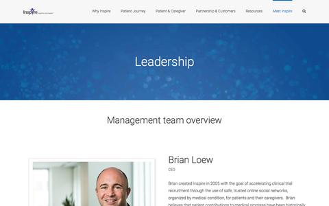 Screenshot of Team Page inspire.com - Leadership | Meet the leaders behind Inspire's success over the years - captured April 7, 2017