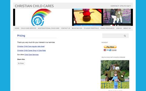Screenshot of Pricing Page christianchildcares.com - Pricing | Christian Child CaresChristian Child Cares - captured Oct. 2, 2014