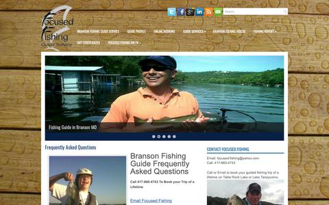 Screenshot of FAQ Page focusedfishing.com - Frequently Asked Questions | Branson Fishing Guide Service - captured Oct. 22, 2018