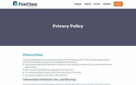 Screenshot of Privacy Page firstclasspack.com - Privacy Policy - First Class Packaging - captured Nov. 25, 2016