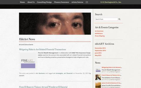 Screenshot of Press Page ebhart.com - EbhArt News   EB Harrington & Co., Inc. - captured Oct. 1, 2014