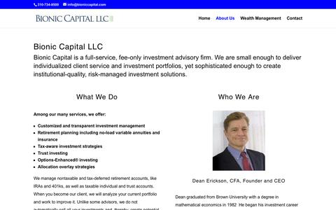 Screenshot of About Page bioniccapital.net - Bionic Capital | Registered Investment Advisor | About Us - captured Nov. 13, 2018