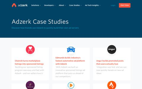 Screenshot of Case Studies Page adzerk.com - Adzerk Case Studies - captured Oct. 2, 2019