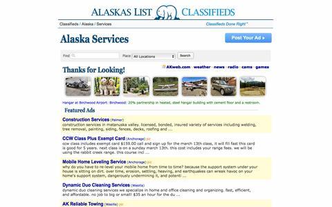 Screenshot of Services Page alaskaslist.com - Alaska's List          :  Alaska Services - captured Jan. 20, 2016