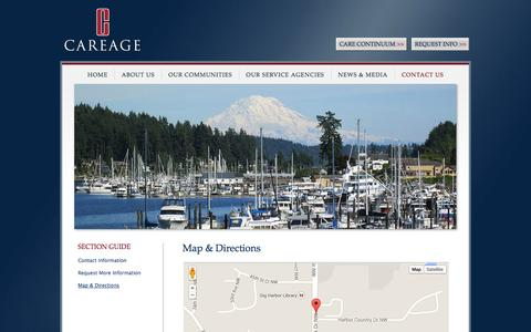 Screenshot of Maps & Directions Page careage.com - Careage Home Office | Directions and Map | Gig Harbor, WA - captured Oct. 5, 2014